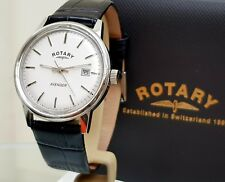 Rotary AVENGER Mens Watch Date Black Leather strap RRP £280 Boxed (R119