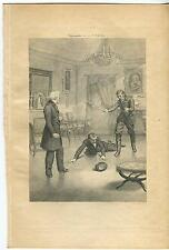 ANTIQUE VICTORIAN MEN SUIT COAT BOOTS HAT FIGHT BRAWL PARLOR CHANDELIER PRINT