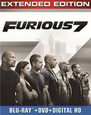 Furious 7: Extended Edition (Blu-ray + DVD + Digital HD, 2015) Paul Walker, New