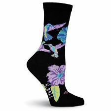 K.Bell Bright Hummingbirds Socks Cotton Blend Ladies Crew Black Socks New