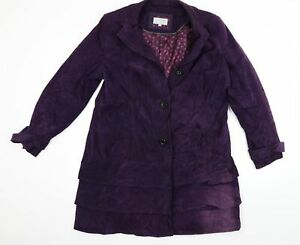 Per Una Womens Purple  Corduroy Overcoat Coat Size 18