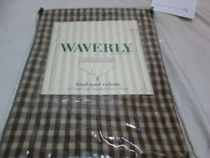 """New Waverly MARQUETTE Spa Lined Ascot Valance 52""""x20"""" Taupe Check"""
