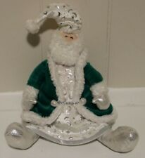 First & Main, Inc Green White Silver Santa Doll Christmas Plush