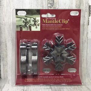 2 Pk The Original Mantle Clip Stocking Holder w/ Removable Snowflake Decoration