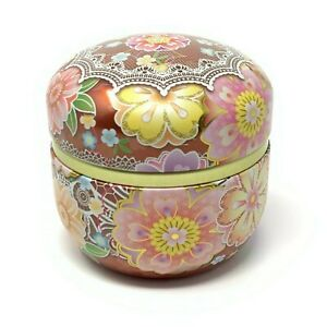 Tin Tea Canister Pink Floral and Lace Print Made in Japan