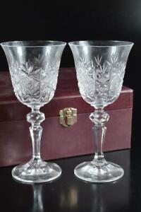 #5423: Japanese Crystal Glass WINE GLASS2pcs, Bohemia made Sake vessels