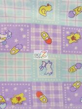 BABY PLAYTIME PRINT FLANNEL FABRIC - Purple/Blue - BY YARD POLY COTTON CLOTHING
