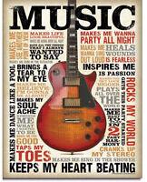 Music inspires me  Metal tin sign guitar home garage shop bar Wall decor new