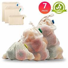Sindello Reusable Produce Bags Washable Cotton Mesh Produce Bags Organic Cotton