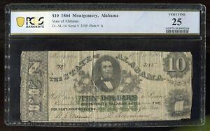 1864 $10 Montgomery, Alabama State PCGS 25 Minor Edge Damage