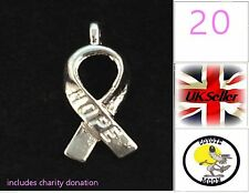 Silver Tone ' Hope ' Awareness Ribbon Pendant Charms Cancer Charity Crafts
