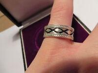 925 Sterling Silber Ring Designer Breit Massiv Umisex X Muster Breit Oldschool