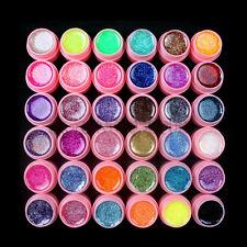 Hot 36Pcs Solid Pure Glitter Mix Color Gel Acrylic Set UV Builder Nail Art Decor