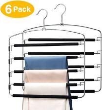 2/4/6 pcs Metal Multi Pant Hangers Space Saving Magic Organizer w/ Swing Arms