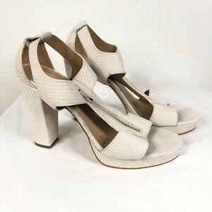 Michael Kors Sandals Heels Leather Zipper Beige Snake Print Ankle Strap Size 10