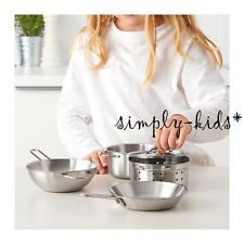 NEW Ikea Kids Cookware Kitchen Play Set DUKTIG 5 piece Pots Pans Stainless Steel
