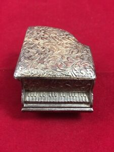 Vintage Miniature Filigree Piano  Jewelry Trinket Box