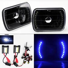 "7X6"" 10K HID Xenon H4 Black LED DRL Glass Headlight Conversion w/ Bulbs Chevy"