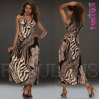 New Sexy Leopard Animal Print Maxi Long A-Line Summer Dress Party Size 8 10 S M
