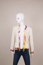 Chanel Off-White/Multicolor Floral Print Silk & Tweed 3-Piece Skirt Suit SZ 38