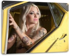 Yellow Pinup Girl Sexy Hot Rod Car Garage Auto Shop Man Cave Decor Metal Sign