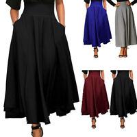 Women High Waist Long Skirt Dress Pleated A Line Front Slit Belted Maxi Skirt