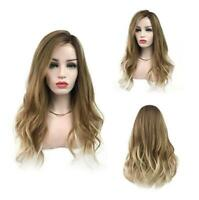 Women Wig Ombre Wigs Long Brown Blonde Curly Wavy Hair Synthetic Heat Resistant