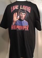 Star Trek T-shirt Spock Live Long and Prosper Black 2XL 100% Cotton