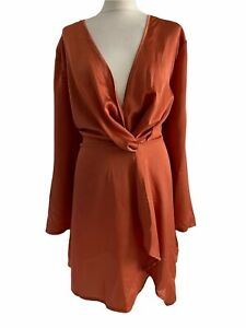 PRETTYLITTLETHING Brand New Ladies Wrap Dress Orange Satin Party Size 18