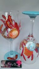 2 Hand-Painted Coral and Shells Wine Glasses