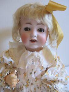 ANTIQUE BISQUE HEAD KOENIG WERNICKE 18 inch FLIRTY EYE Toddler, Mohair Wig RARE