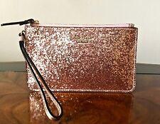 NWT Kate Spade GLITTER BUG ROSE GOLD Glitter Patent & Leather SLIM BEE Wristlet