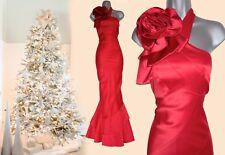 Karen Millen Rojo Vestido Corsage Maxi largo cóctel de boda con un hombro de UK14 EU42