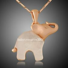 18K Rose Gold GP Cute elephant Shell Fashion Animal Necklace 586
