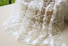 "Vintage 51"" Wide Ivory Corded Embroidery Bridal Lace Fabric Floral Lace 1/2 Yard"