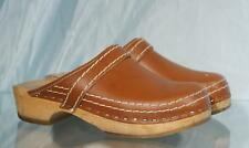 Attractive Brown Leather SIMSON Wood Soled Clogs US Women 8.5 EU 39