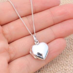 Small 925 Sterling Silver Heart Shaped Photo Locket Pendant Necklace Children's