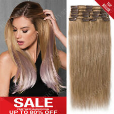 Clip in 100% Human Remy Hair Extensions Full Head Black Brown Blonde Ombre P136