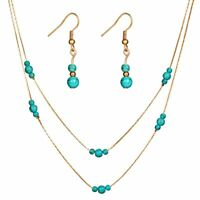 Vinatge 2 Layers Womens Gold Turquoise Jewellery Set Necklace Earrings Chain Hot