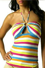NWT BABY PHAT SEXY RHINESTONE Multicolor STRETCH Striped Keyhole Halter L - XL
