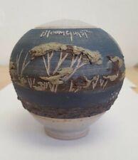 Vintage John Bloomquist Studio Art Pottery Flower Frog Vase Scenic Cattails