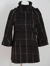 WOMENS ZARA COAT JACKET WOOL BLEND REMOVABLE HOOD GREY SIZE M MEDIUM EXCELLENT