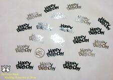 Wedding Table Scatters Confetti Happy Birthday - Black & Silver x 3