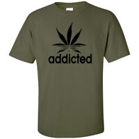 Addicted Pot Leaf Black Logo Cannabis T-Shirt Stoner Hippie Marijuana Weed 420