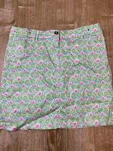 Charter Club Pant Shop Blue Pink Floral Lilly Print Skort Skirt Golf