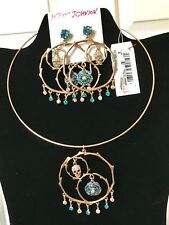Betsey Johnson Skulls and Roses Wire Collar Necklace AND Gypsy Hoop Earrings