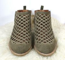 Jeffrey Campbell Taggart Size 6 Lattice Cut Ankle Booties Shoes Taupe Suede Tan