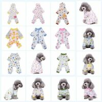 Small Pet Dog Cat Pajamas Clothes Puppy Cotton Jumpsuit T Shirt Sleepwear XS-XL