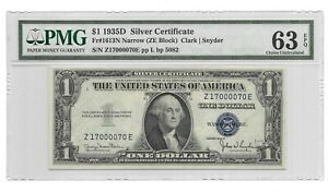 1935D $1 SILVER CERTIFICATE, PMG CHOICE UNCIRCULATED 63 EPQ BANKNOTE, NARROW