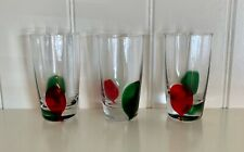 3 Highball, Shot, or Juice Glasses with Green and Red Accent Splotch (3 oz.)